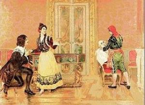 Escena de El barbero de Sevilla en un dibujo de la época.