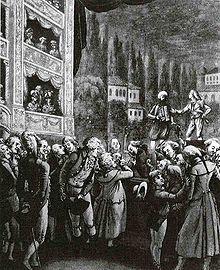 Grabado que muestra a Mozart asistiendo a una función de El rapto en el serrallo, su gran ópera turca.