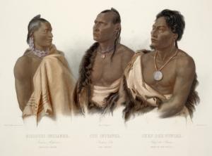 Litografía que representa indios Missouria, Otoe, y Ponca, por Karl Bodmer.
