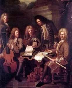 Antoine Forqueray a la viola de gamba sentado entre otros músicos.