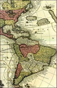 """Las """"indias"""" occidentales en un mapa del siglo XVIII."""