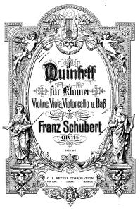 Portada de una edición del Quinteto La Trucha op.114 [1819] de Franz Schubert.