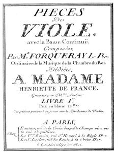 Frontispicio de las Piezas para viola y bajo continuo [1747] de Antoine Forqueray.