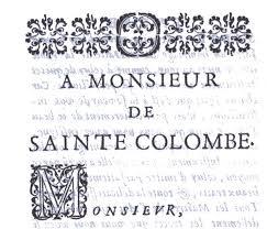 Dedicatoria del Traité de la viole [1687] de Rousseau.
