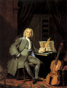 Un aficionado al cello de la familia Van der Mersch [1736], óleo de Cornelis Troost.