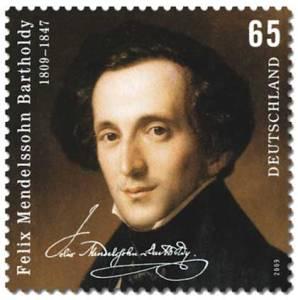 Felix Mendelssohn en un sello alemán de 2009.