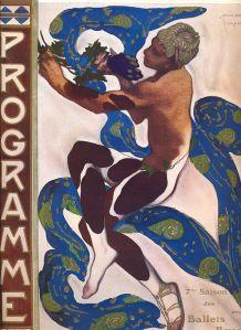 Cartel del estreno de la coreografía de Nijinsky del Preludio a la siesta de un fauno de Debussy en 1912.
