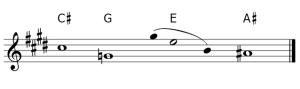 Do#-Sol y Mi-La#, tritonos de la melodia que configuran un acorde de septima disminuida