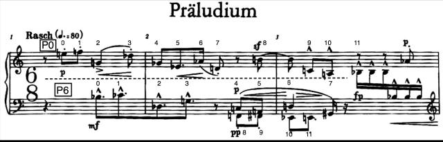 Compases iniciales del Preludio, nº1 de la Suite op.25 de Arnold Schönberg.
