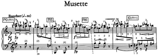 Compases iniciales de la Musette (nº3) de la Suite op.25 de Schönberg.