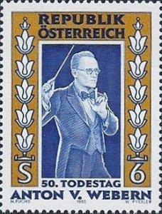 Sello austríaco, conmemorativo del cincuentenario de la muerte de Anton Webern.