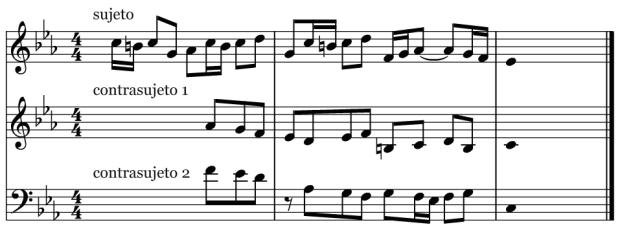 Sujeto y contrasujetos de la Fuga en Do menor BWV 847 de J.S. Bach