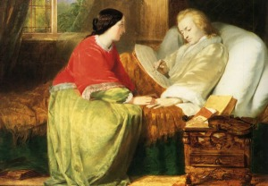Imagen romántica de Mozart componiendo el Requiem en su lecho de muerte.