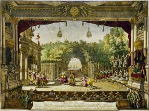 """Escenografía para """"El turco generoso"""" en una producción vienesa de 1758."""