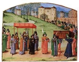 Procesión para una coronación medieval.