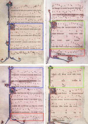 Distribución de las partes en el manuscrito. La escritura en partes separadas permite aprovechar mejor el espacio. Las partes están distribuidas de modo que las voces coincidan al pasar la página.