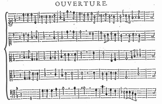 Inicio de la obertura de Atys, que muestra la escritura a cinco partes típica del estilo lullyano.