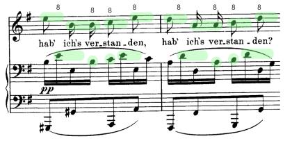 """La voz imita el diseño pianístico en octavas """"imprecisas""""."""