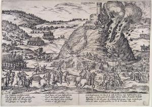 Destrucción de la fortaleza de Godesberg durante las guerras de religión (1583).