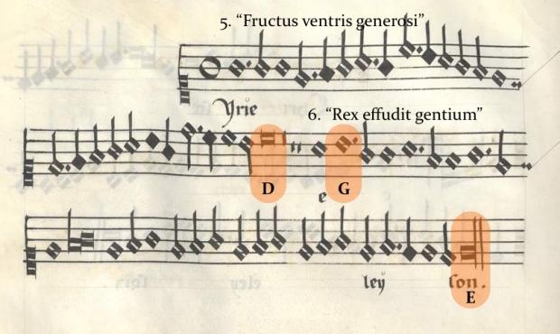 Kyrie II (cantus) de la Misa Pange Lingua (Munich, Bayerische Staatsbibliothek, Musiksammlung, Musica MS 510).