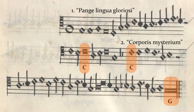 Kyrie I (tenor) de la Misa Pange Lingua (Munich, Bayerische Staatsbibliothek, Musiksammlung, Musica MS 510).