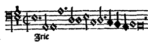 """Frase inicial del bajo en el Kyrie II de la Misa """"Mille regretz"""" de Cristóbal de Morales."""
