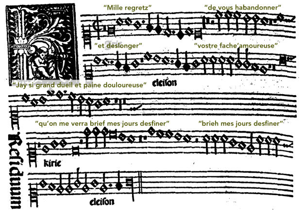 "Cantus I del Kyrie II de la Misa ""Mille regretz""."