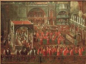 Coronación del doge veneciano en San Marcos (ca.1690).