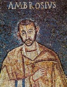 San Ambrosio, introductor de los himnos en la liturgia latina.
