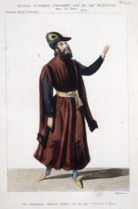El tenor Alphonse Nourrit, caracterizado como Eleazar, según un grabado de Maleuvre.