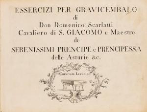 Portada de los Essercizii per grevicembalo de Domenico Scarlatti.