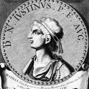Retrato del emperador Justino I de Bizancio.