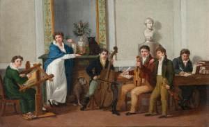 Escena familiar [ca.1815] de un pintor anónimo, en el Kunsthistorisches Museum de Viena.