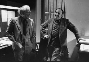 Elliott Carter y Pierre Boulez en Londres en 1985.