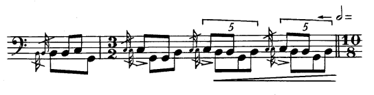 Ejemplo de modulación [ 5 : 4 ] en la Marcha de Elliot Carter.