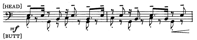 Superposición de ritmos en relación [4:3] en la Marcha de Elliott Carter.