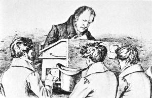 Litografía que muestra a Hegel dando clases en la Universidad de Berlín.