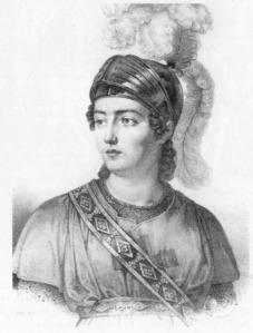 La soprano Giuditta Pasta (1798-1865) caracterizada como Tancredi.