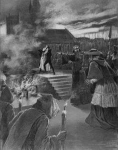 El tremebundo final de La judía, en el que Eleazar confiesa a Brogni que Rachel es su hija justo en el momento en el que ésta es arrojada a la hoguera.