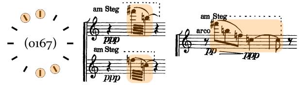 Acorde 2. Este acorde, que escuchamos en A1 como bordadura del Acorde 1, es desplegado en una cascada de tres miembros al inicio de A2.