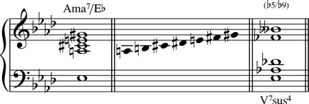 El acorde Amaj7/Eb es equivalente.