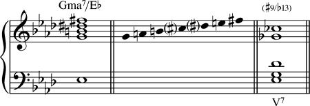 El acorde Gmaj7/Eb es equivalente a un Eb7.