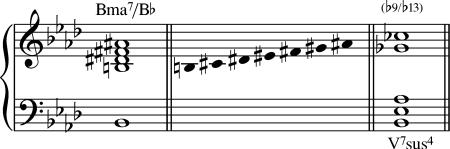 El acorde Bmaj7/Bb es equivalente.