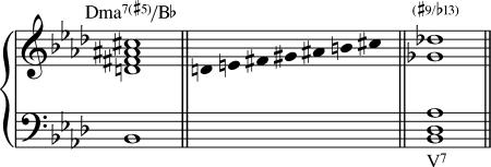 El acorde Dmaj7/Bb es equivalente a un acorde Bb7.