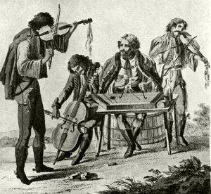 Grabado que muestra una banda de músicos gitanos hacia 1800 (Biblioteca Nacional Széchenyi).