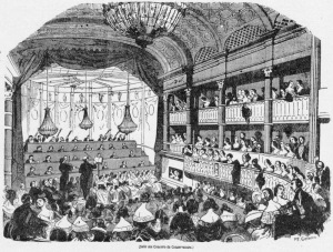 LA Sala de Conciertos del Conservatorio de París, donde Berlioz dirigió el estreno de su Sinfonía Fantástica, en un grabado de 1843.