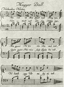 Canción de reclutamiento, o verbunkos (Biblioteca Nacional Széchenyi).
