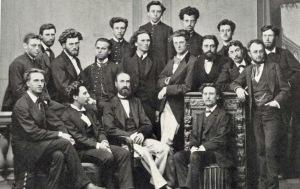 Alumnos de la École Niedermeyer en 1871. Entre ellos André Messager (fila central, segundo por la derecha) y Gabriel Fauré (fila central, segundo por la izquierda).