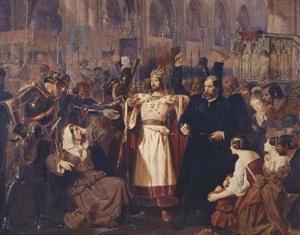Escena de la Coronación [1851] de El profeta de Meyerbeer, en un óleo de Edward Corbould.