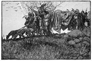 La Muerte de Sigfrido [1882] por Howard Pyle.